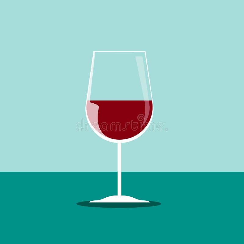 Красный значок бокала в винтажном стиле длинняя тень стоковая фотография rf