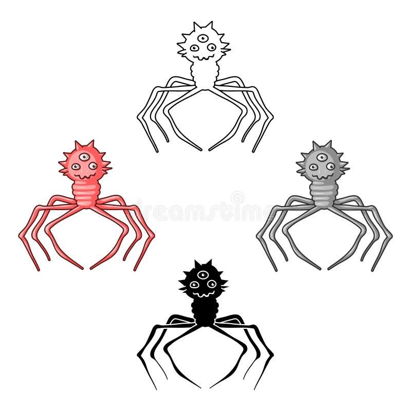 Красный значок вируса в мультфильме, черном стиле изолированном на белой предпосылке Вирусы и вектор запаса символа bacteries иллюстрация вектора