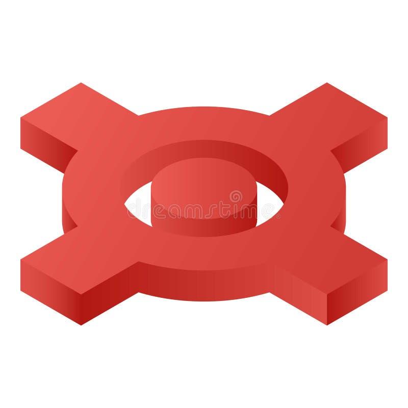 Красный значок карты скрещивания, равновеликий стиль бесплатная иллюстрация