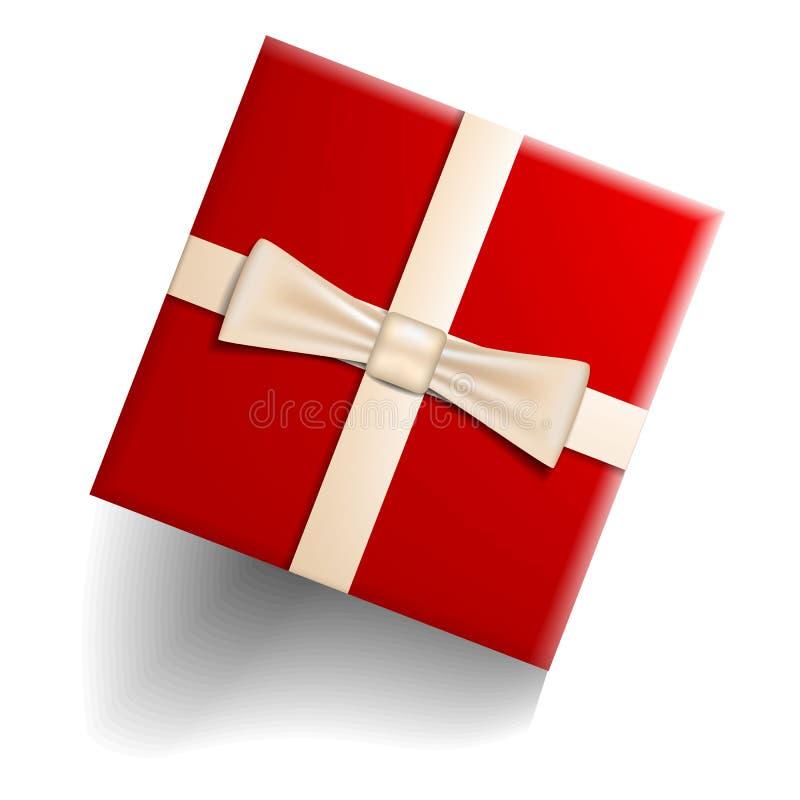 Красный значок подарочной коробки, реалистический стиль иллюстрация вектора