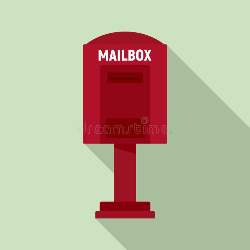 Красный значок почтового ящика улицы, плоский стиль бесплатная иллюстрация
