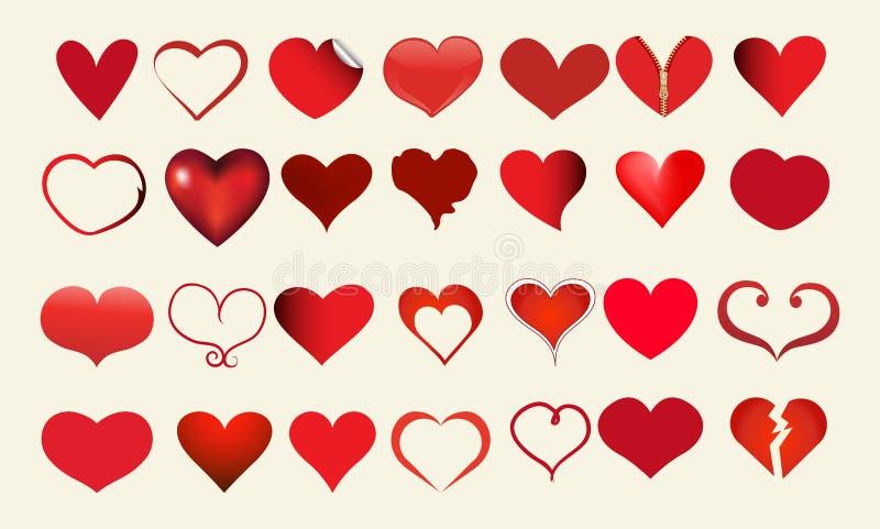 Красный значок сердца, набор любов изолированный значком, плоский стиль значка, установленное собрание вектора иллюстрация вектора