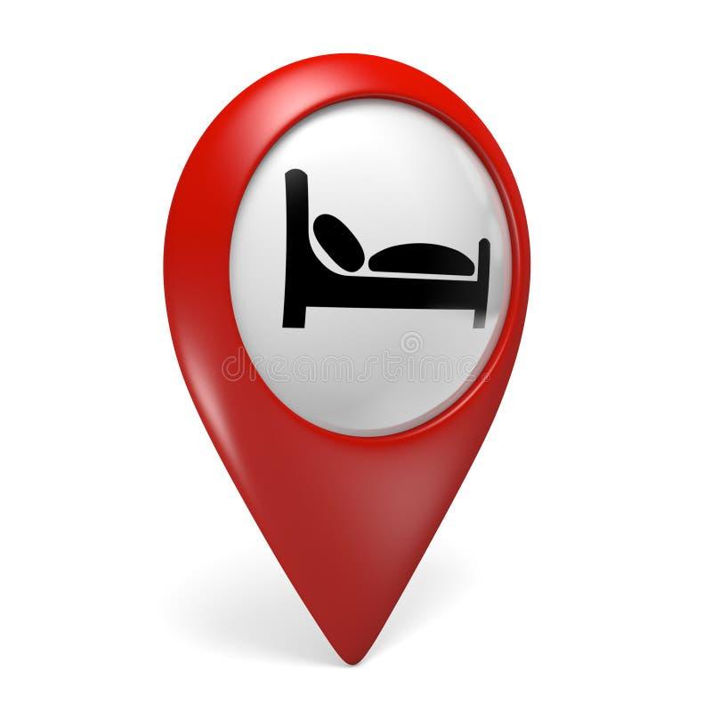 красный значок указателя карты 3D с символом кровати для гостиниц и общежитий иллюстрация вектора