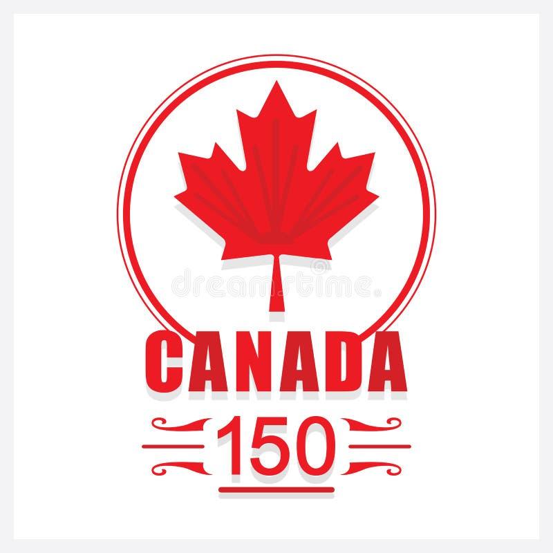 Красный значок эмблемы кленового листа Канады 150 бесплатная иллюстрация