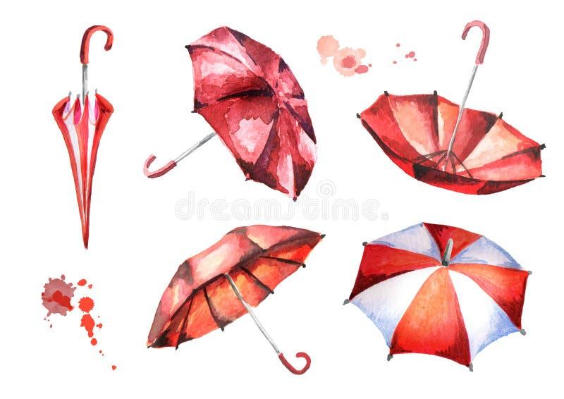 Красный зонтик в лужице и рамке листьев Акварель h иллюстрация вектора