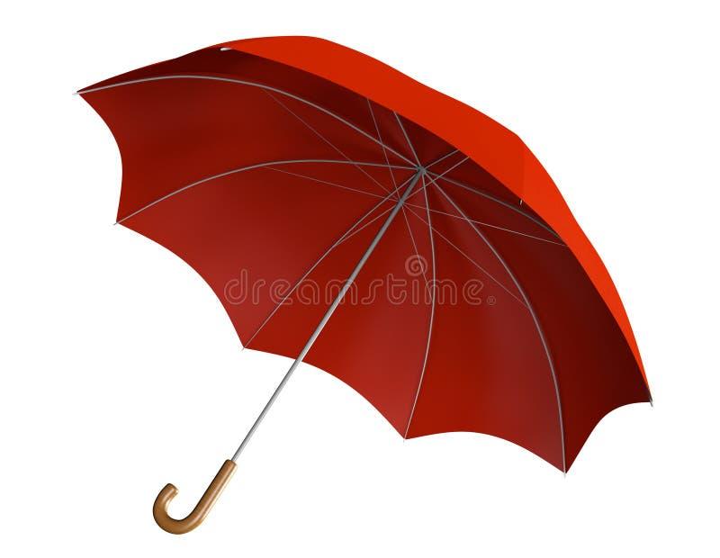 Красный зонтик с ручкой изогнутой классикой иллюстрация вектора