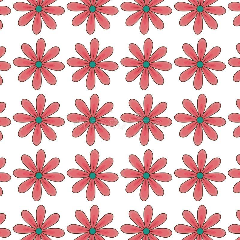 Красный дизайн картины цветков маргаритки флористический бесплатная иллюстрация