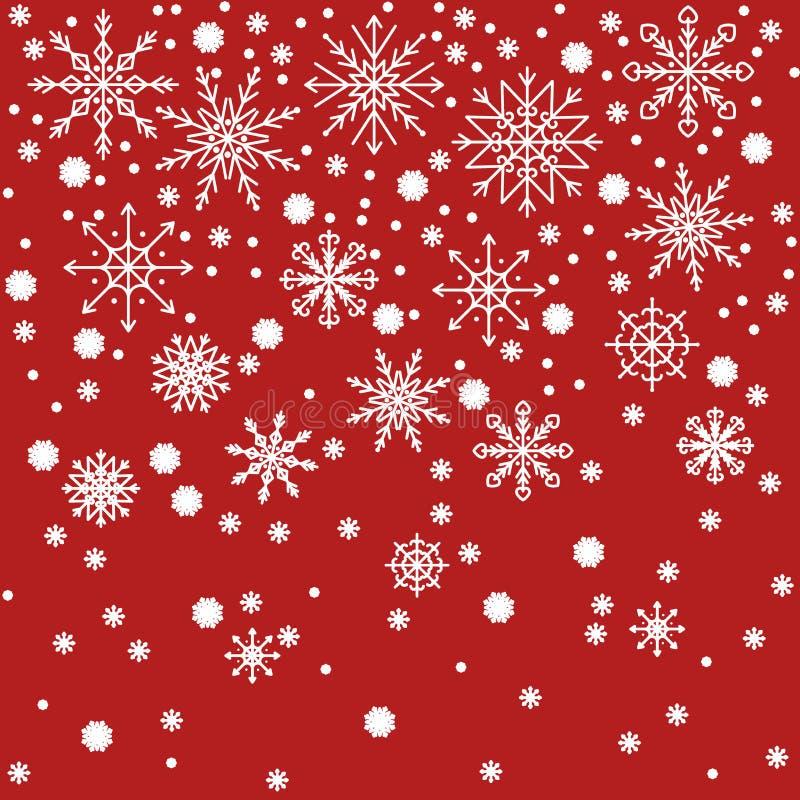 Красный дизайн предпосылки рождества с белыми снежинками стоковые изображения rf