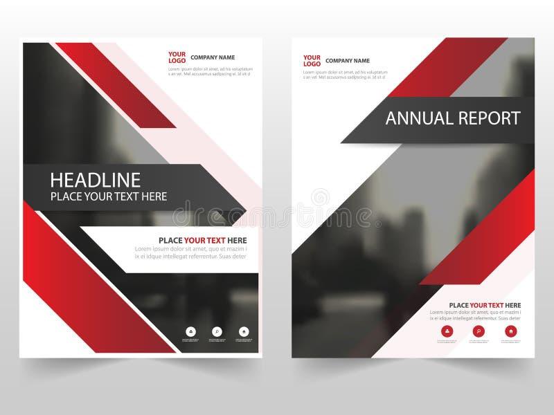Красный дизайн шаблона годового отчета рогульки листовки брошюры дела технологии, дизайн плана обложки книги, иллюстрация штока