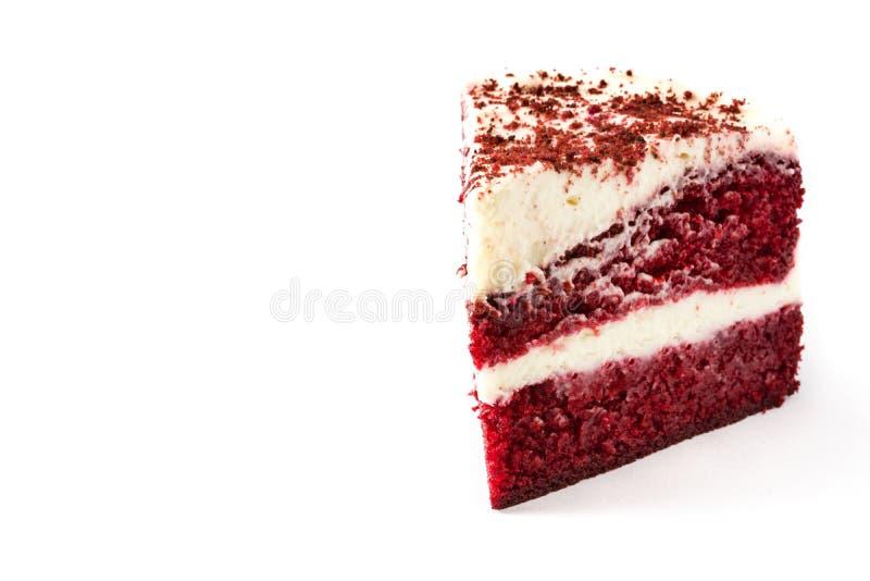 Красный изолированный кусок торта бархата стоковые изображения rf