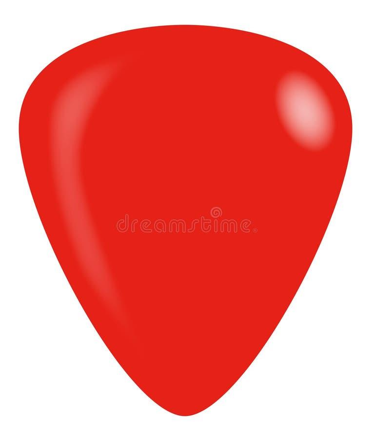 Красный изолированный плектр гитары иллюстрация вектора