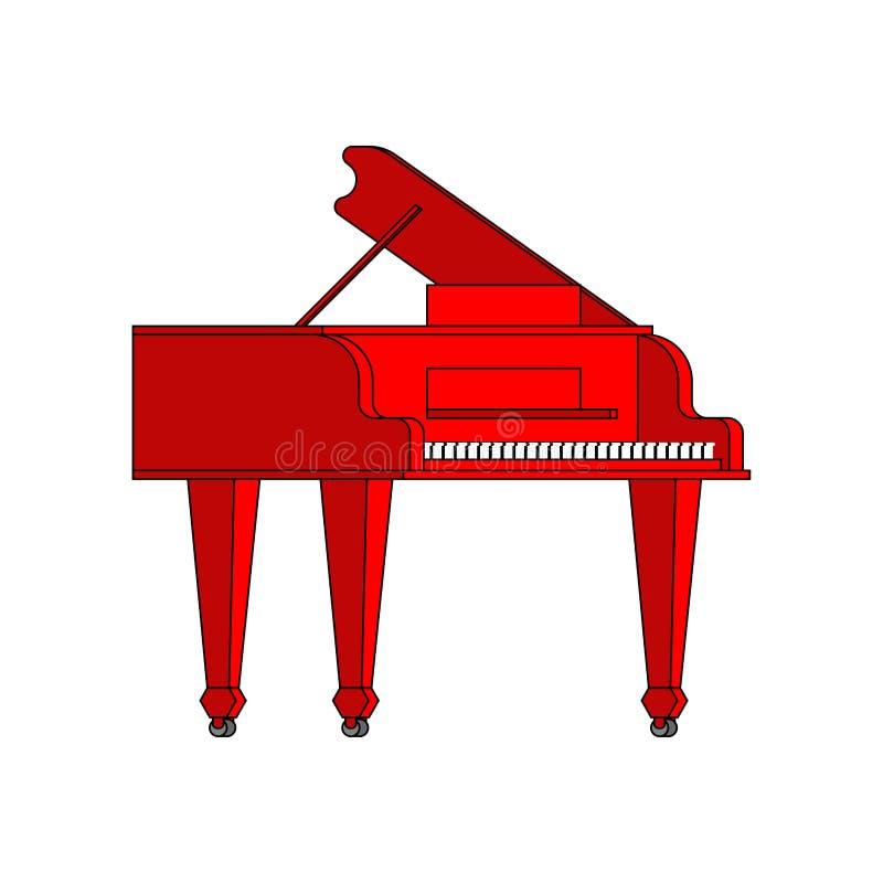 Красный изолированный рояль Иллюстрация вектора музыкального инструмента иллюстрация вектора