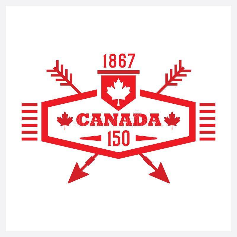 Красный длинный шестиугольник и пересеченный значок эмблемы Канады 150 стрелок бесплатная иллюстрация