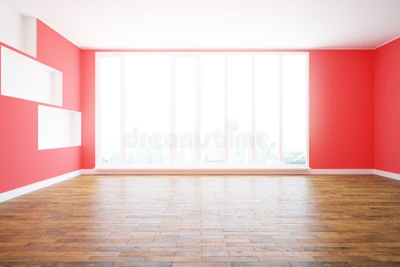 Красный интерьер с видом на город иллюстрация штока