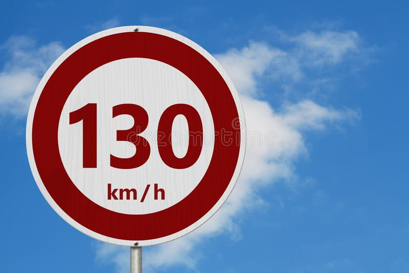 Красный и белый знак ограничения в скорости 130 km стоковое фото rf