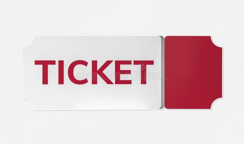 Красный и белый значок входного билета стоковые фото