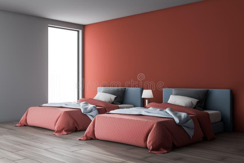 Красный и белый интерьер спальни с 2 кроватями бесплатная иллюстрация