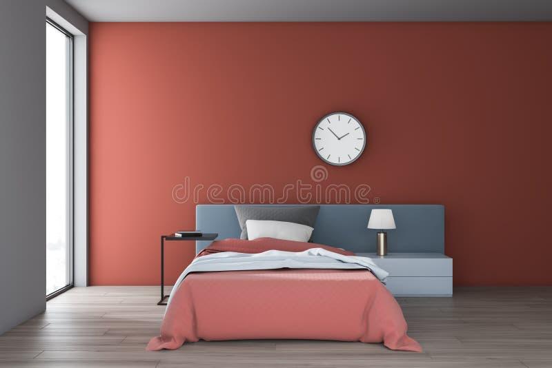 Красный и белый интерьер спальни с часами иллюстрация вектора