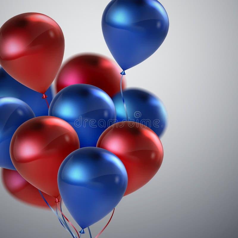 Красный и голубой пук воздушного шара иллюстрация вектора