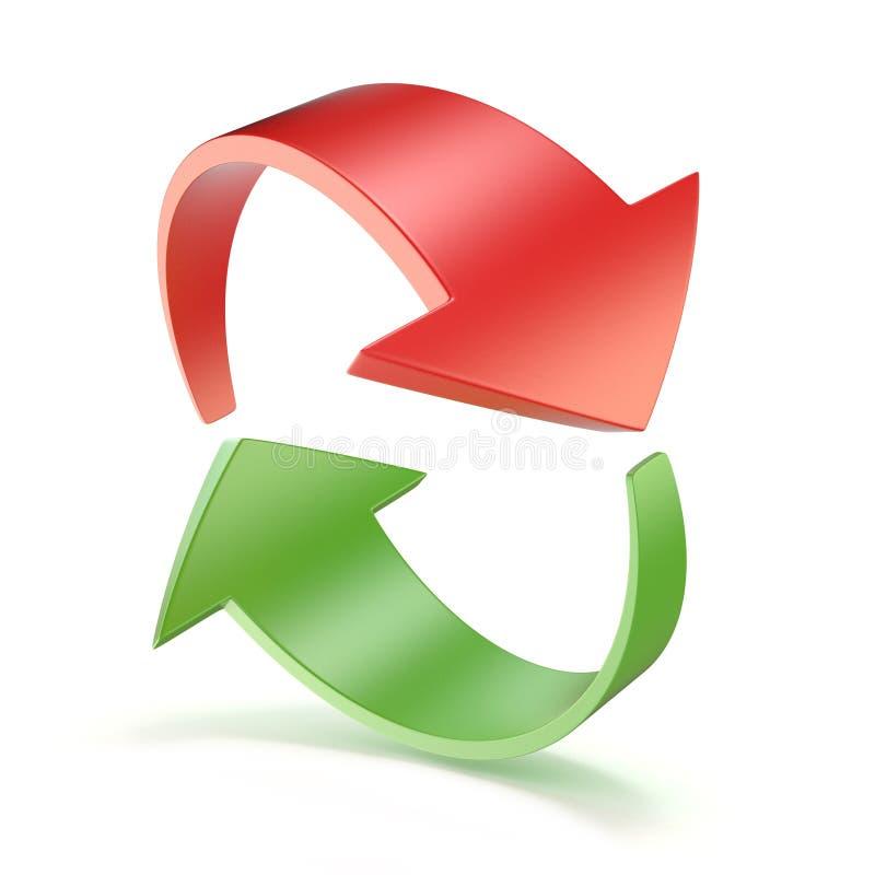 Красный и зеленый круг 3D стрелок иллюстрация штока