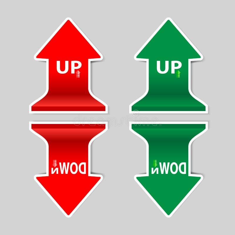 Красный и зеленый поднимающий вверх спуск подписывает стрелку с тенью бесплатная иллюстрация