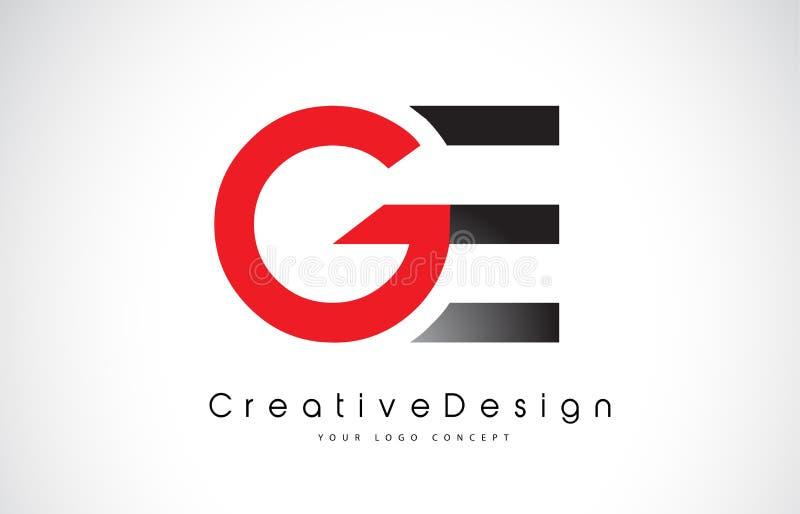 Красный и черный дизайн логотипа письма GE g e Логотип вектора писем творческого значка современный иллюстрация штока