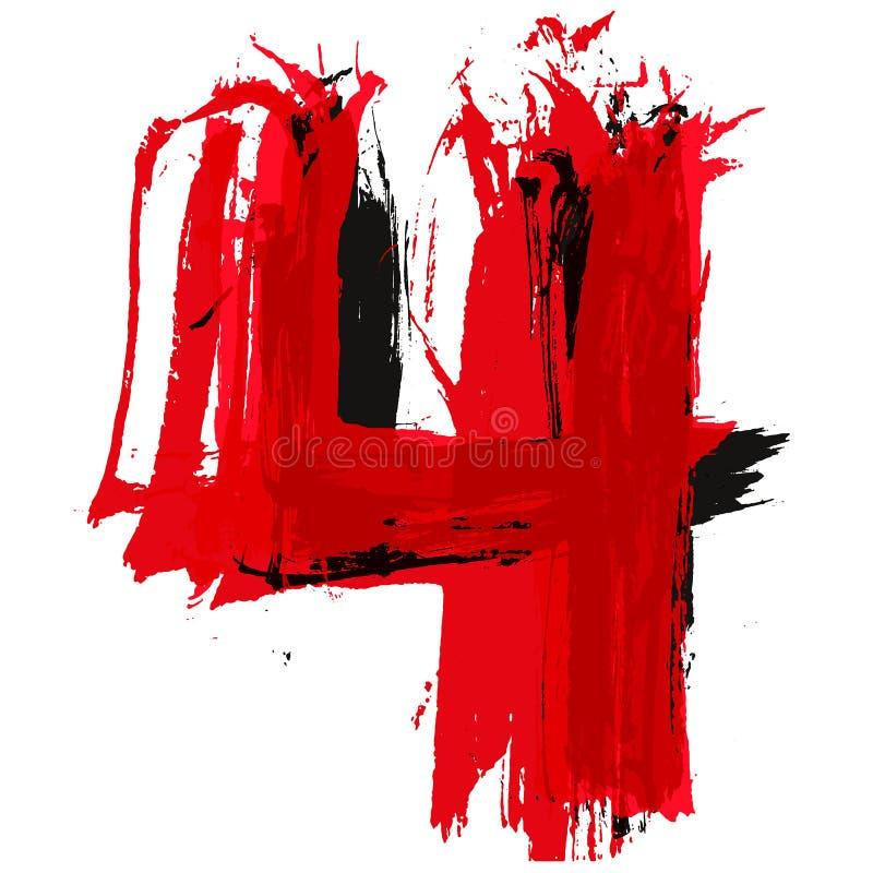 Красный и черный номер Литерность краски щетки вектора иллюстрация вектора