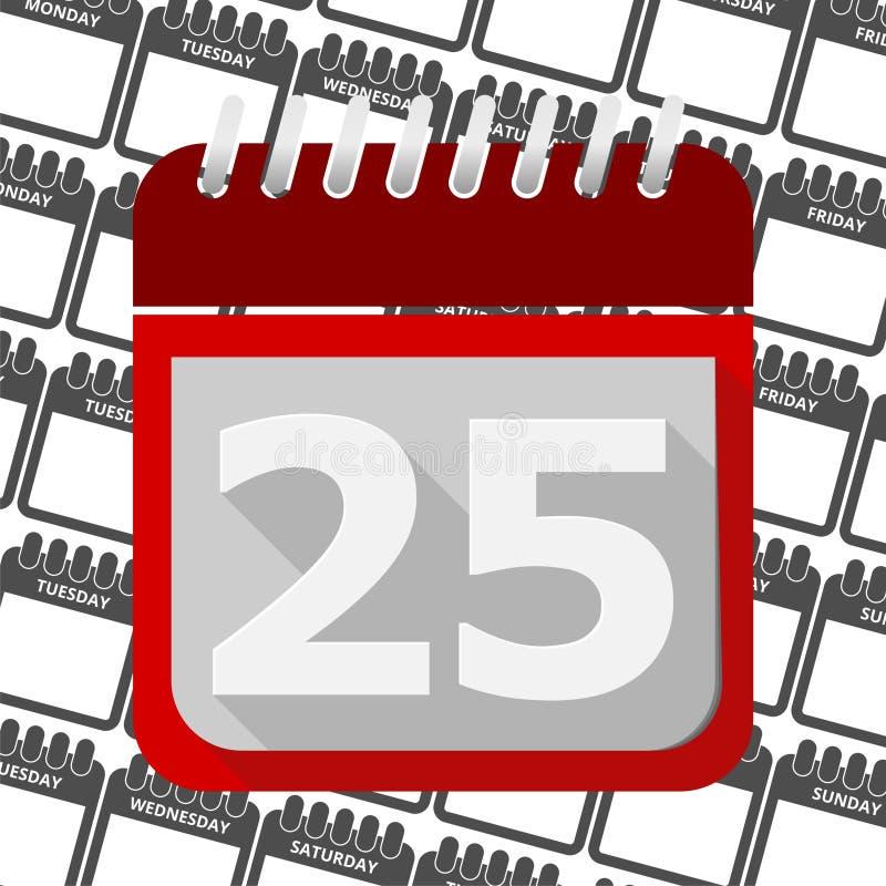 Красный календарь - значок 25 вектора иллюстрация штока