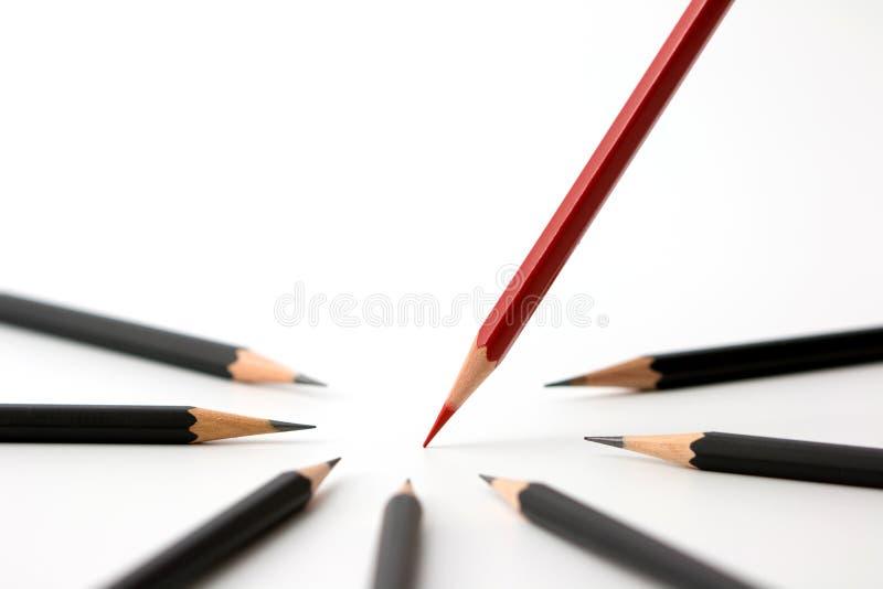 Красный карандаш стоя вне от толпы концепции успеха в бизнесе собратьев множества идентичной черной стоковое изображение rf