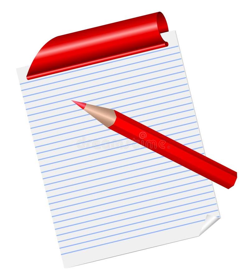 Красный карандаш на выровнянной странице блокнота иллюстрация штока