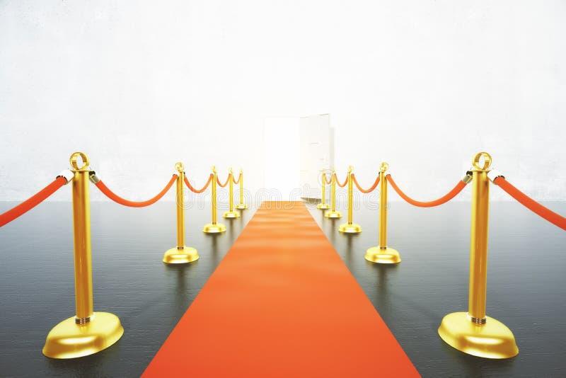Красный ковер водя к концепции открыть двери иллюстрация штока