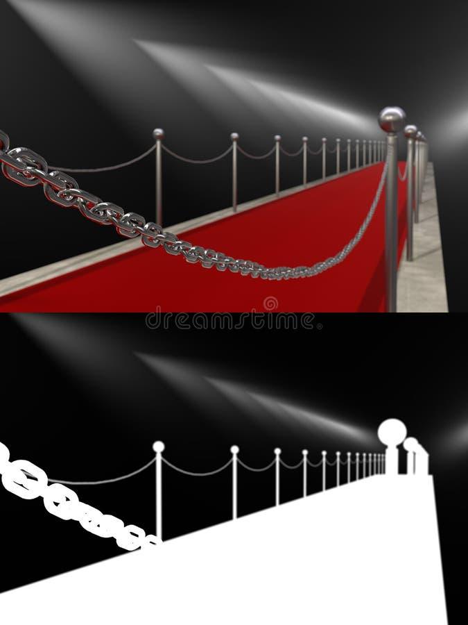 Красный ковер загоренный фарами исчезая в расстояние иллюстрация вектора