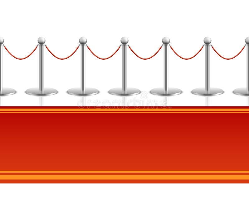 Красный ковер с предпосылкой веревочки барьера безшовной бесплатная иллюстрация