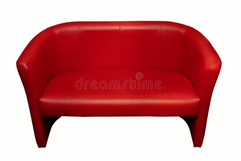Красный кожаный диван, офисная мебель, изолят стоковые изображения rf