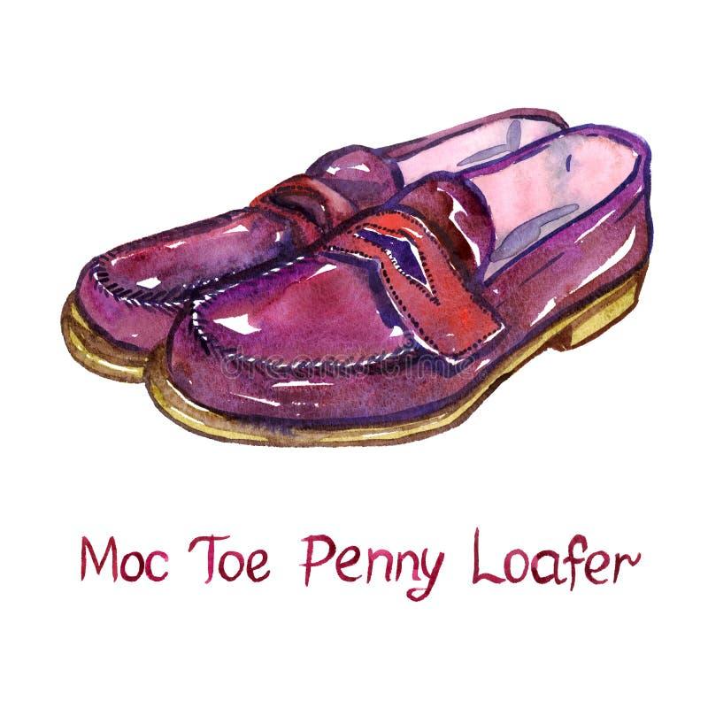 Красный кожаный loafer пенни пальца ноги moc бесплатная иллюстрация