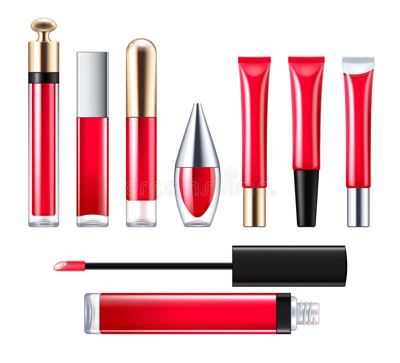 Красный комплект лоска губы иллюстрация вектора