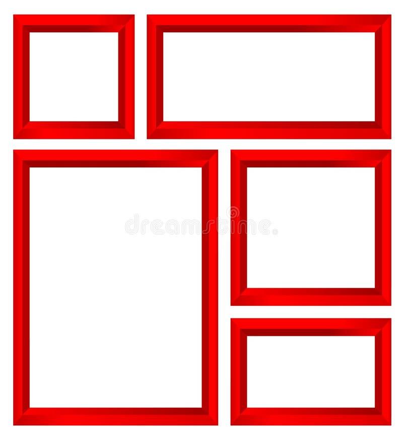Красный комплект рамки иллюстрация штока