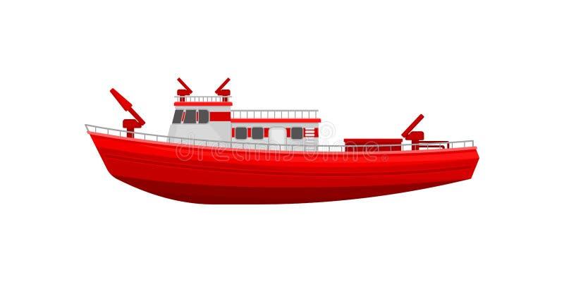 Красный корабль firefighting, иллюстрация вектора корабля чрезвычайного обслуживани на белой предпосылке иллюстрация вектора