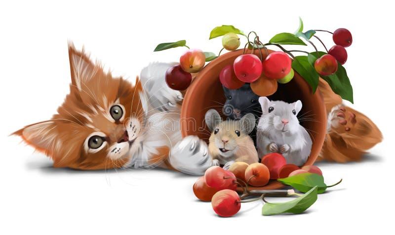 Красный котенок, мыши и малые яблоки иллюстрация штока