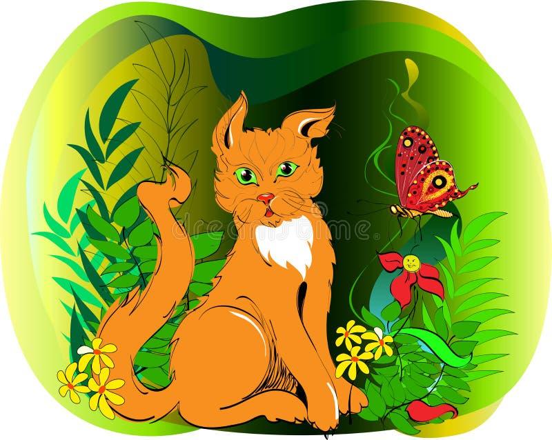 Красный кот в траве стоковое изображение rf