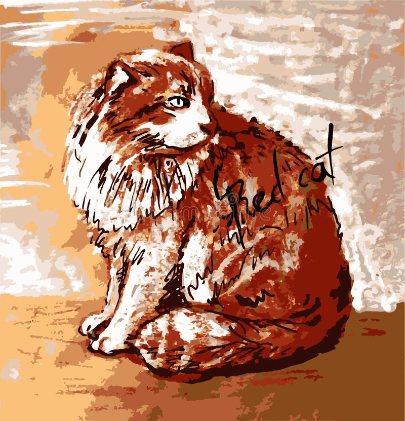 Красный кот Графическое искусство бесплатная иллюстрация