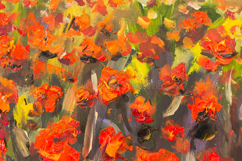 Красный красить цветков маков Часть макроса близкая поднимающая вверх иллюстрация вектора
