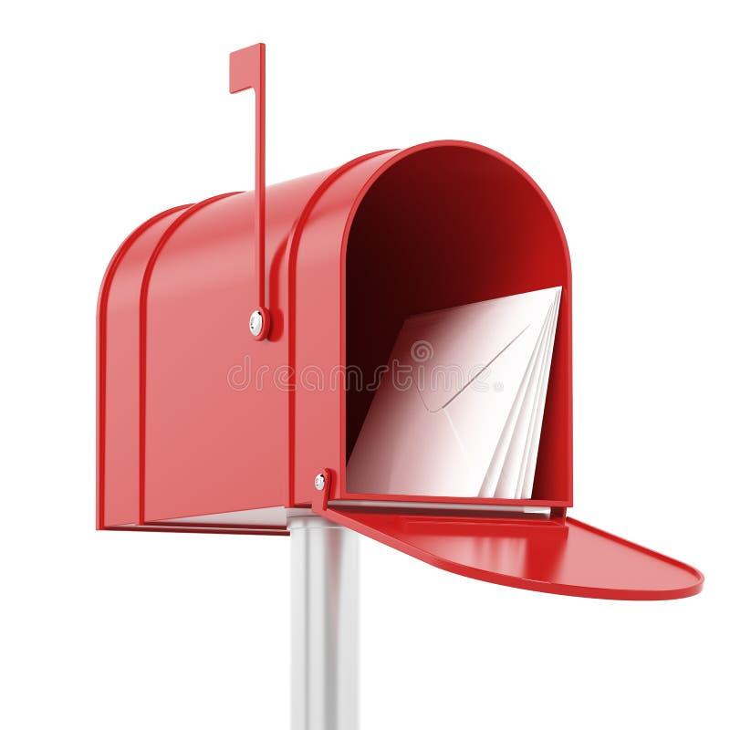 Красный красный почтовый ящик с почтами бесплатная иллюстрация