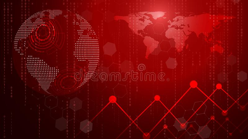 Красный круг технологии и предпосылка компьютерных наук абстрактная Дело и соединение Футуристический и индустрия 4 0 концепций иллюстрация штока