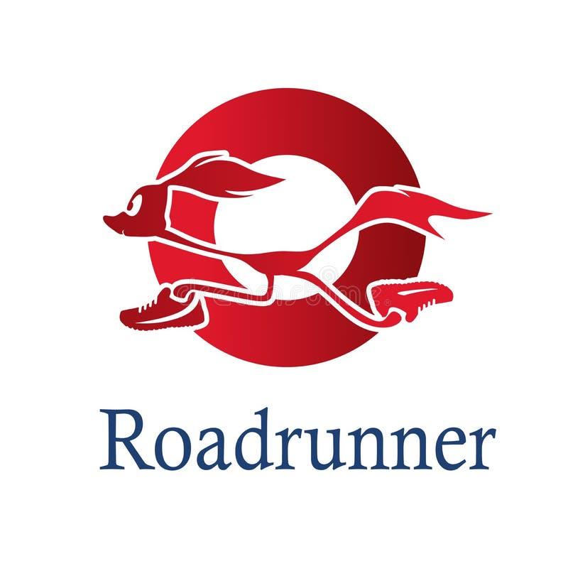 Красный логотип Roadrunner в круге иллюстрация вектора