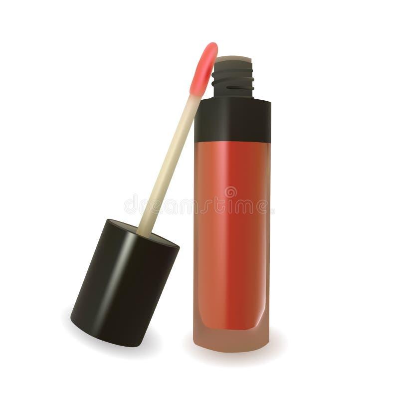 Красный лоск губы на белой предпосылке иллюстрация штока
