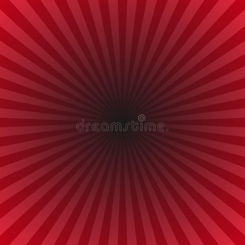 Красный луч градиента разрывал предпосылку - гипнотический график от радиальных лучей иллюстрация штока
