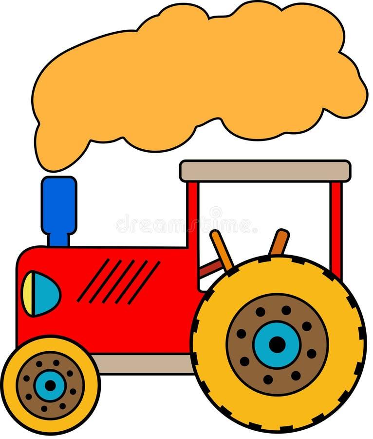 Красный маленький трактор игрушки с облаком дыма стоковое фото