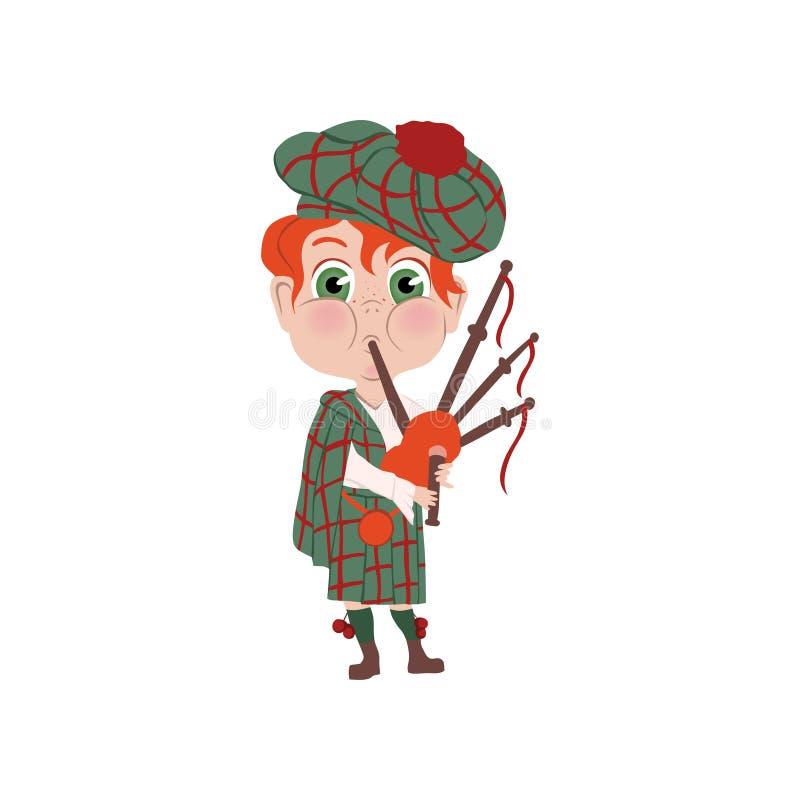 Красный мальчик волос с нацией striped шляпы шотландской иллюстрация вектора