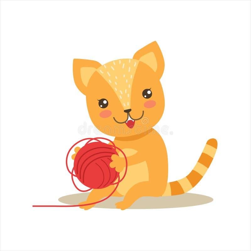 Красный маленький Girly милый котенок играя с шариком клубока, иллюстрацией ситуации жизни характера любимчика шаржа иллюстрация вектора